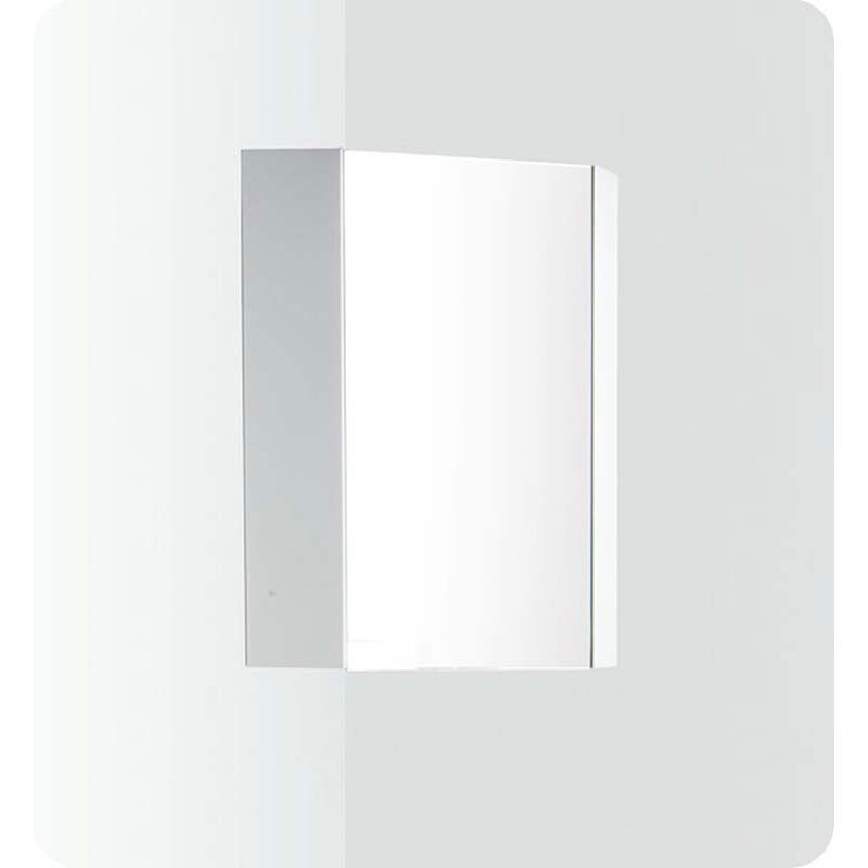 White Corner Medicine Cabinet With Mirror