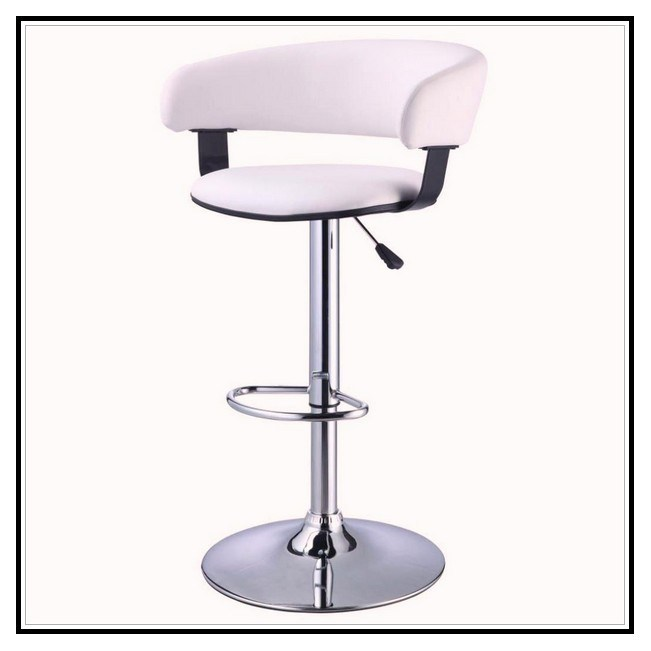 White Leather Bar Stools With Chrome Legs