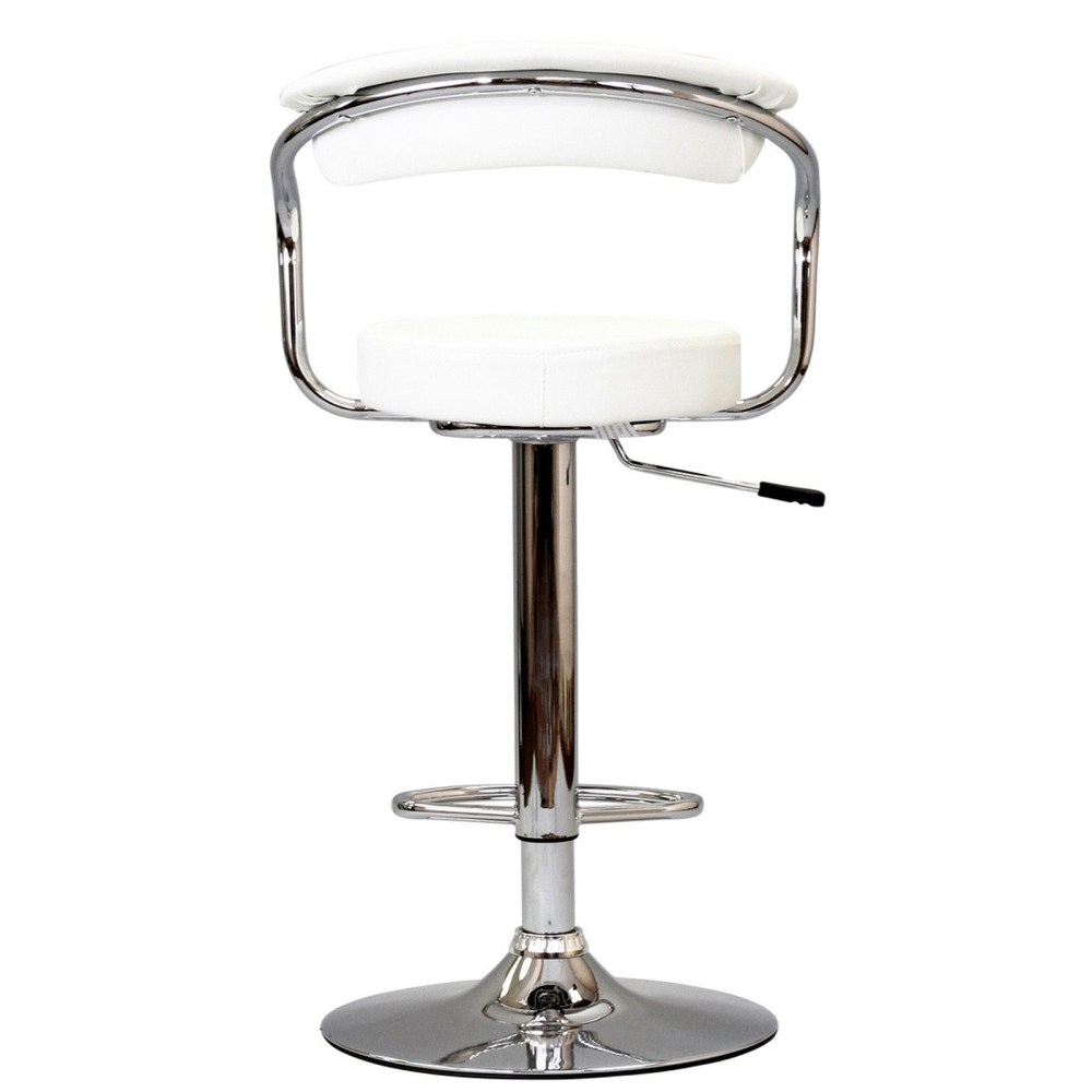 White Leather Swivel Bar Stools