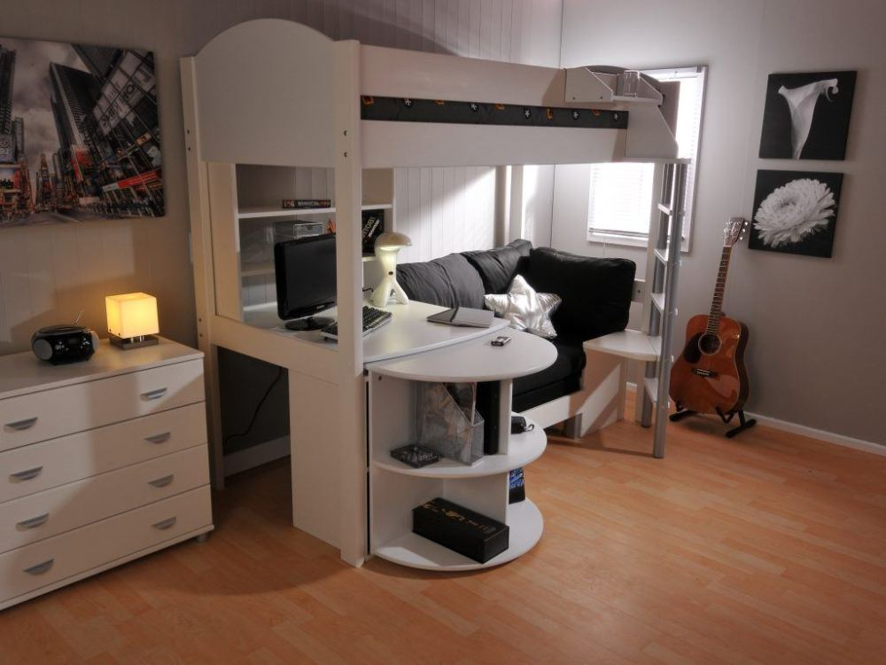 White Loft Bed For Toddlers