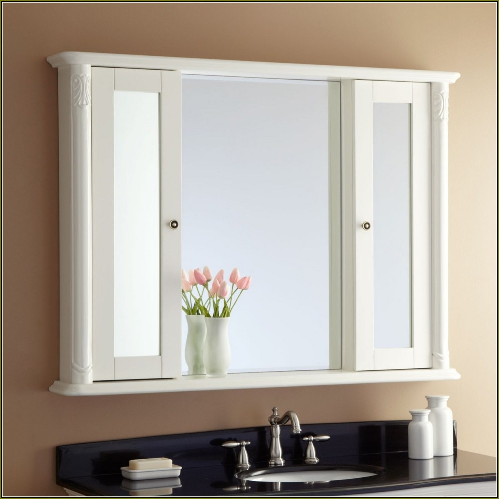White Medicine Cabinet With Mirror And Lights