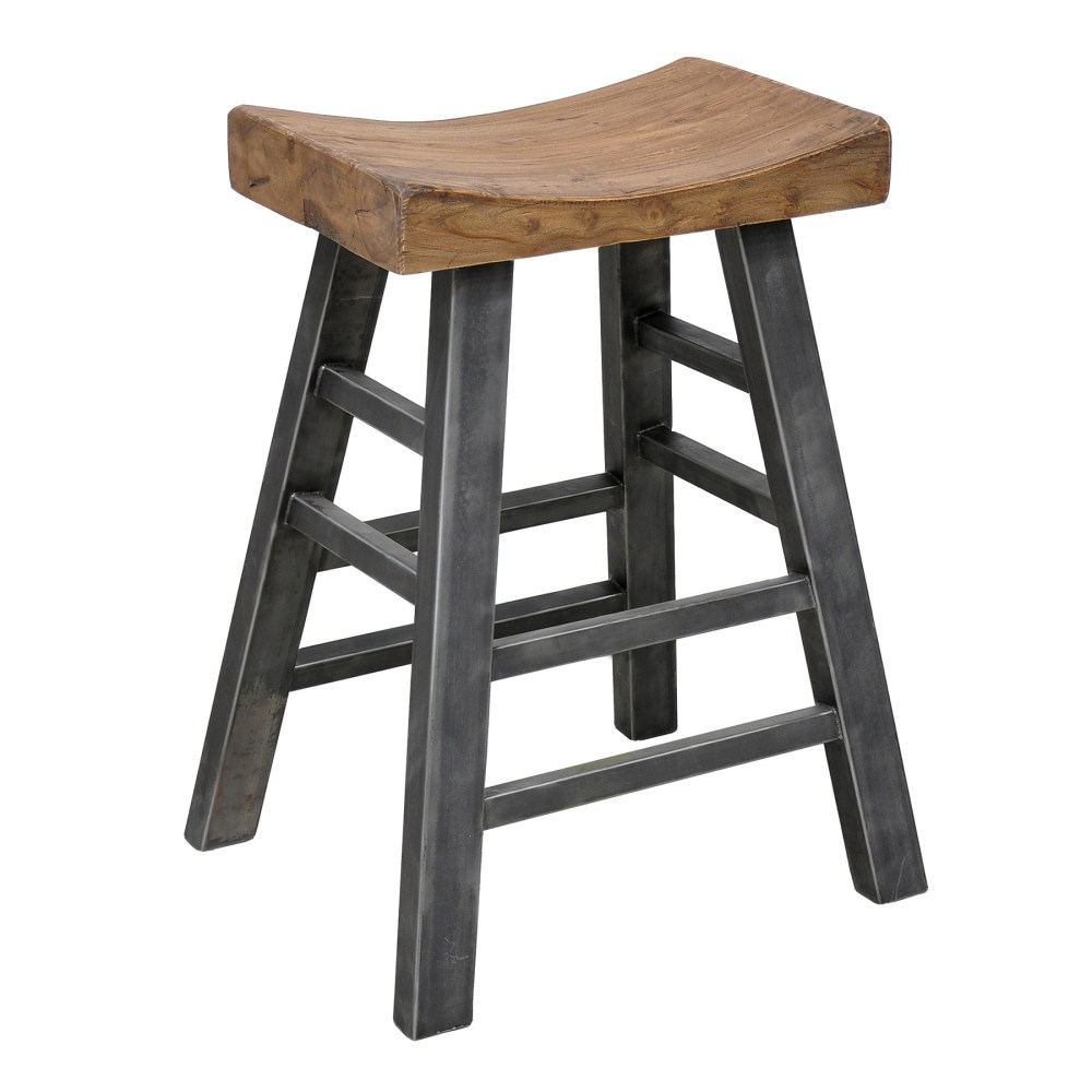White Metal And Wood Bar Stools