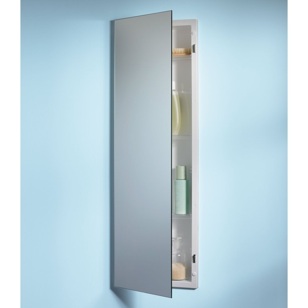 White Mirrored Recessed Medicine Cabinet