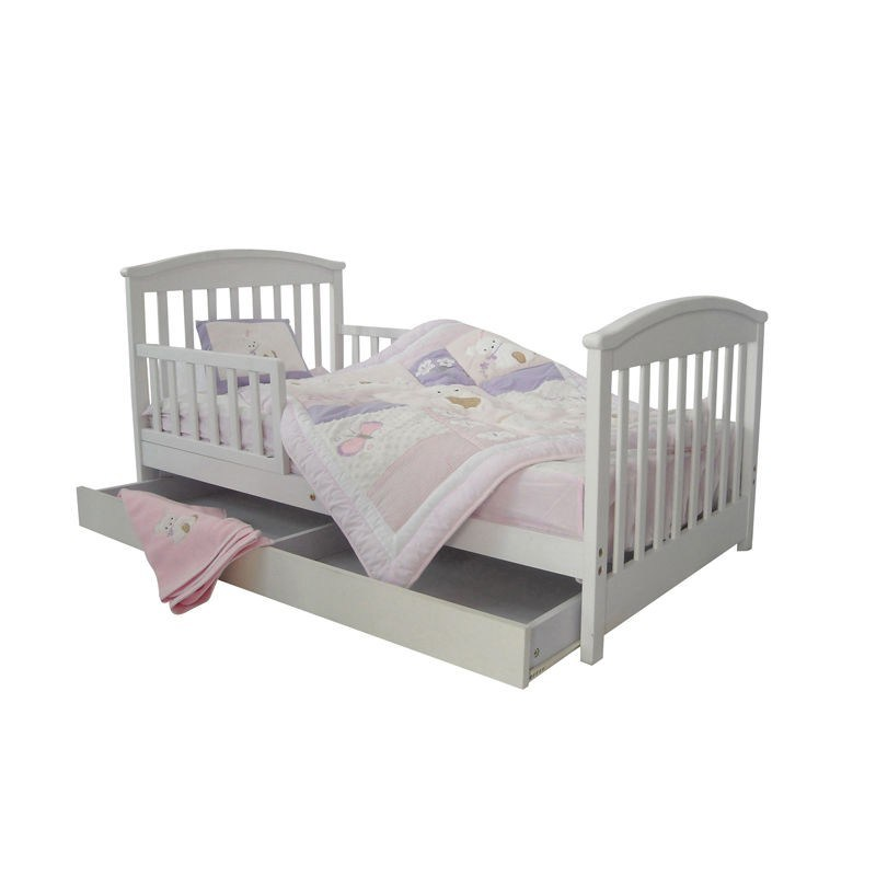White Toddler Bed With Storage Drawer