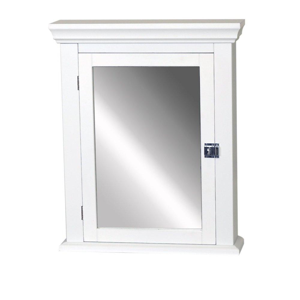 White Wooden Medicine Cabinet With Mirror