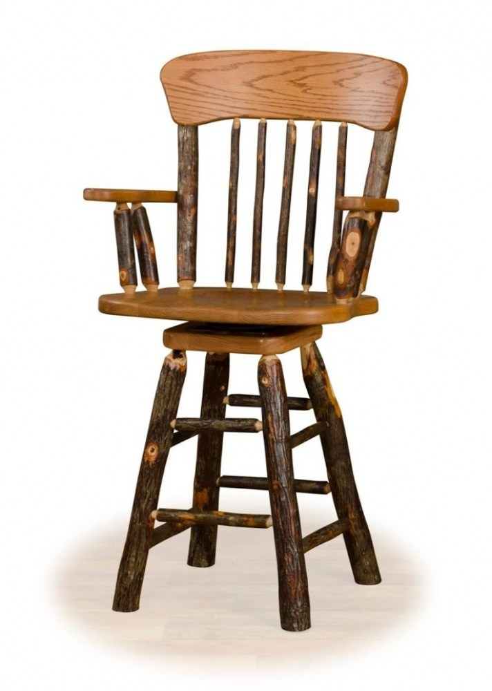 Wood Swivel Bar Stools With Back And Arms