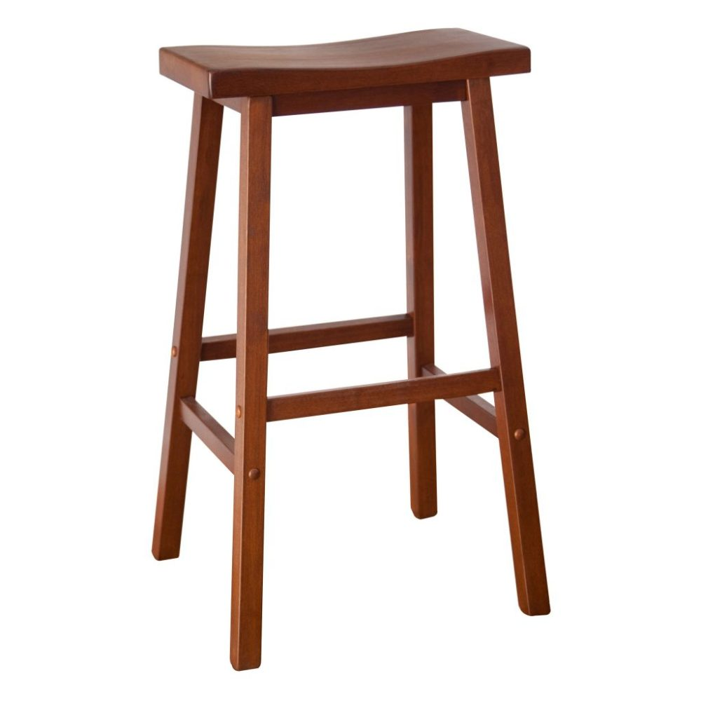 Wooden Bar Stool With Armrest