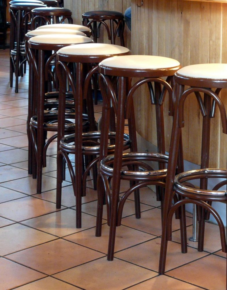 Wooden Bar Stools With Backrest