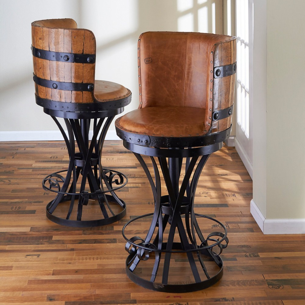 Wooden Seat Swivel Bar Stools