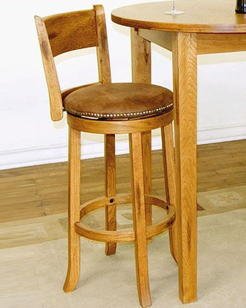 Wooden Swivel Bar Stools With Backs