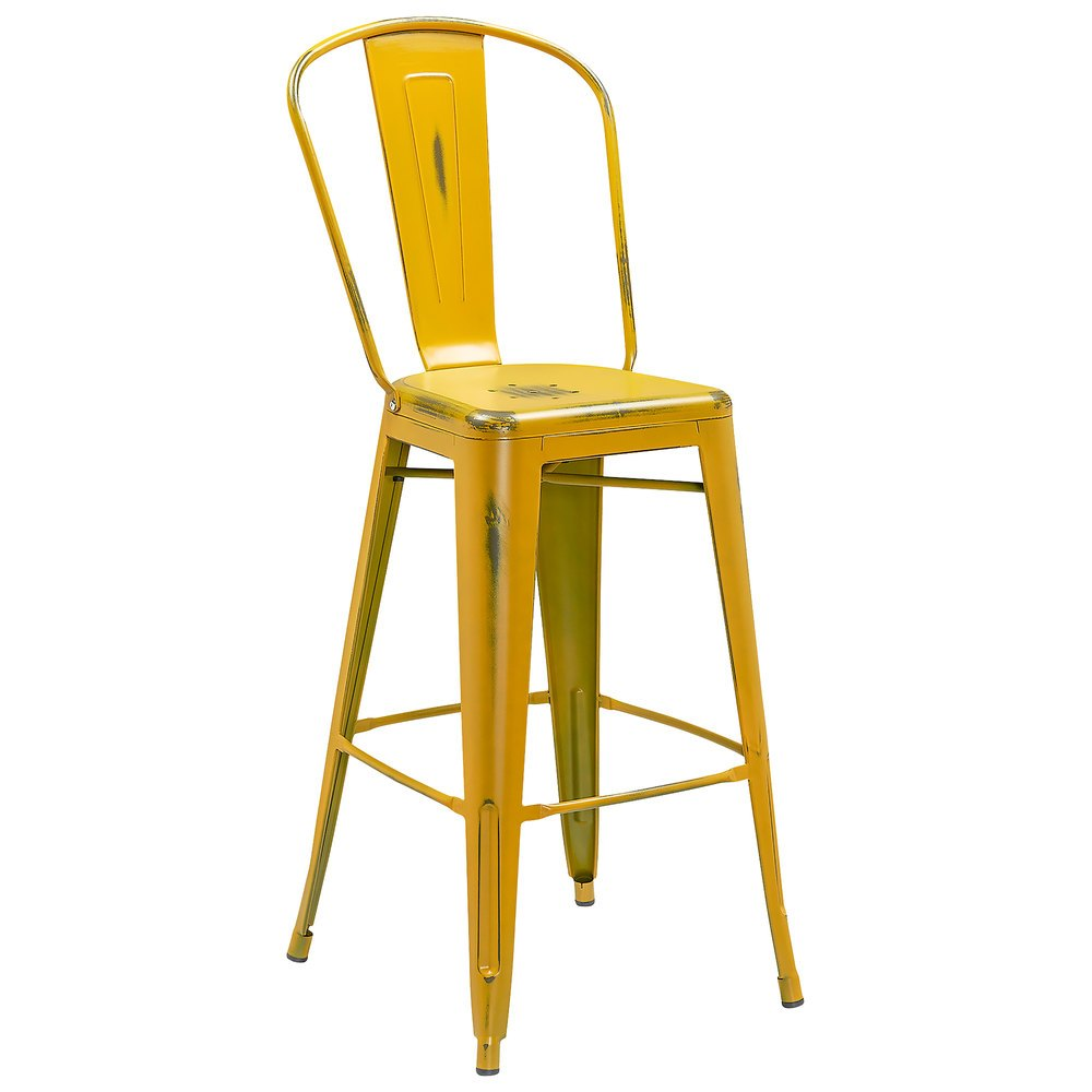 Yellow Metal Bar Stool With Back
