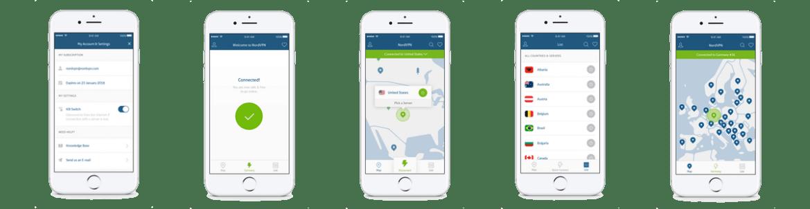 NordVPN IOS Application screenshots