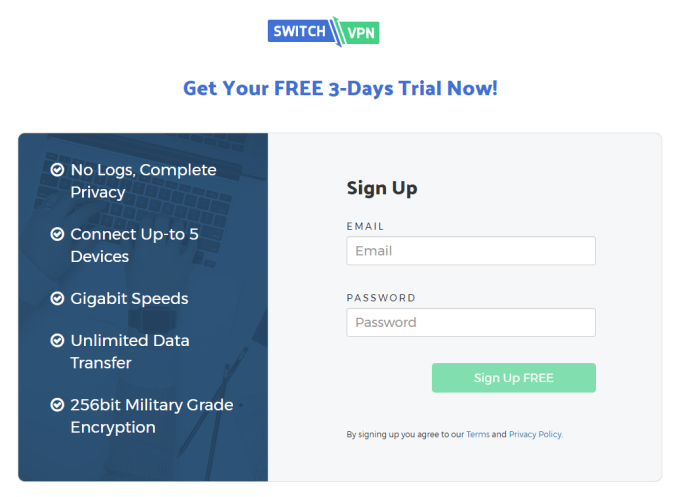 3 days free trial of switchvpn