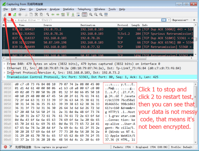 WireShark to test Encrypted VPN Connection 6