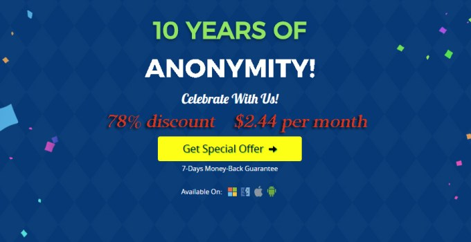 78% Discount For Celebrate 10 Years Of PureVPN