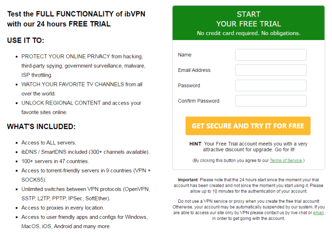 free trial of ibvpn 24 hours