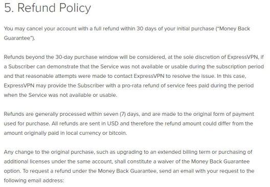 refund policy of expressvpn
