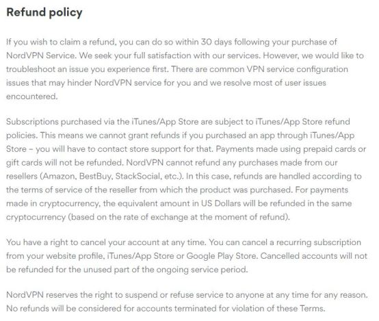 refund policy of nord VPN
