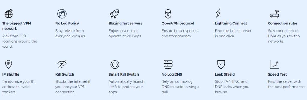 Features in HMA VPN