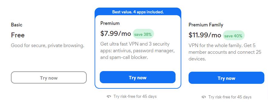 Select your VPN plan