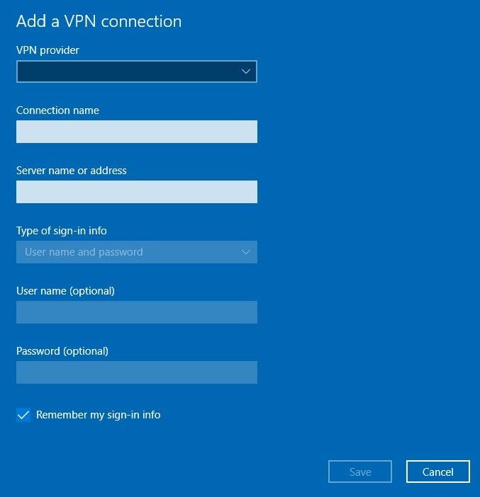 VPN Details Screen
