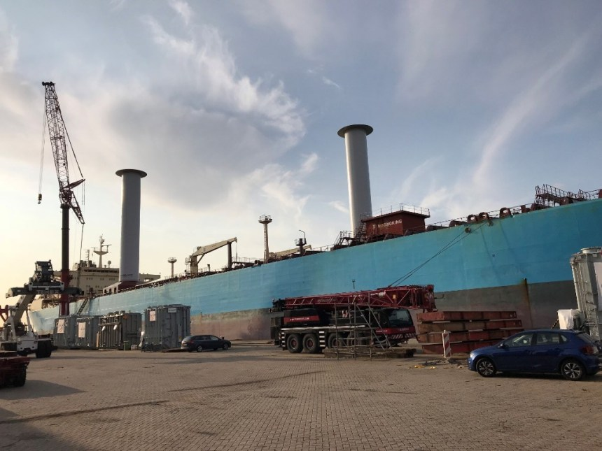 Maersk tanker retrofitted with wind propulsion technology