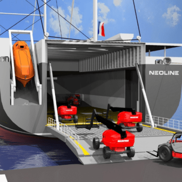Wind powered vessel to transport heavy machines and boats across Atlantic