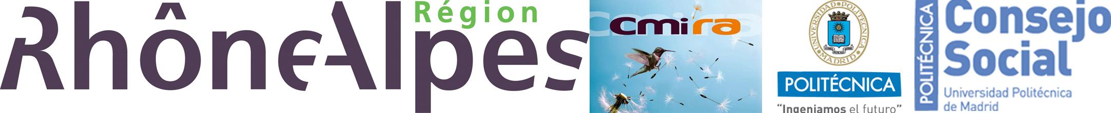 Logos Région Rhône-Alpes; Explora CMIRA; UPM; Consejo Social UPM