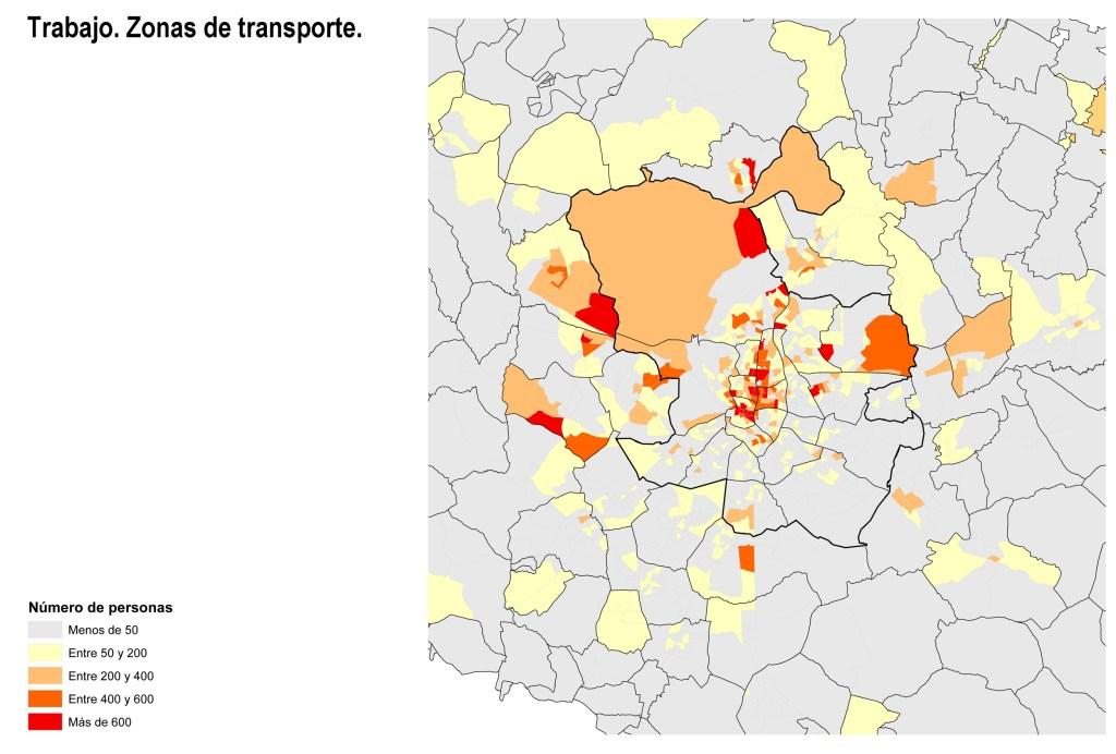 Lugar de trabajo de población de riesgo. Zonas de transporte.