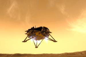 La sonde InSight dans sa phase finale d'atterrissage © VR2Planets