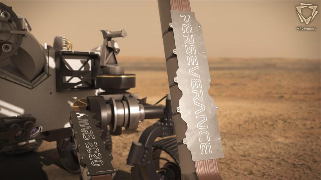 Perseverance-Mars2020-Nasa-Logos sur le rover-extrait de PerseveranceDiscover logiciel de visualisation 3D