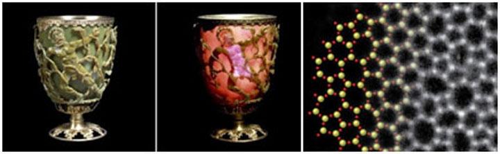 Likurgov pehar (IV vek) napravljen je od stakla koje menja boju