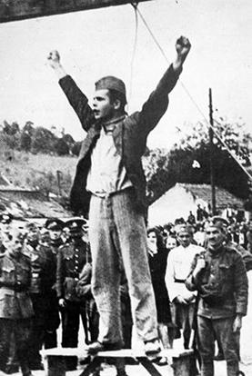 Stjepan Filipović pred izvršenje vešanja, Valjevo 22. maj 1942.