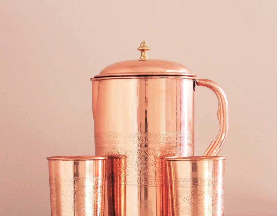 Art Engraved Copper Pitcher Set