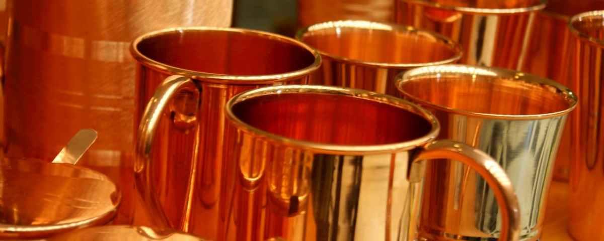 copper utensils in kitchen