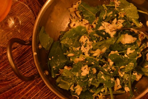 radish green and moringa flower salad, in olive oil, with buffalo milk herb and spice cheese