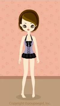 Frill Ribbon dress swimsuit / Bk09G