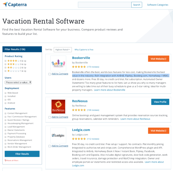 Capterra Vacation Rental Software