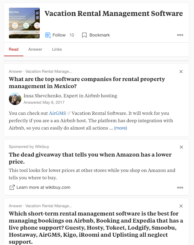 Quora Vacation Rental Management Software