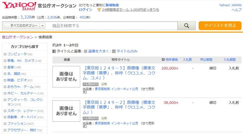 <Source:Yahoo!官公庁オークション>