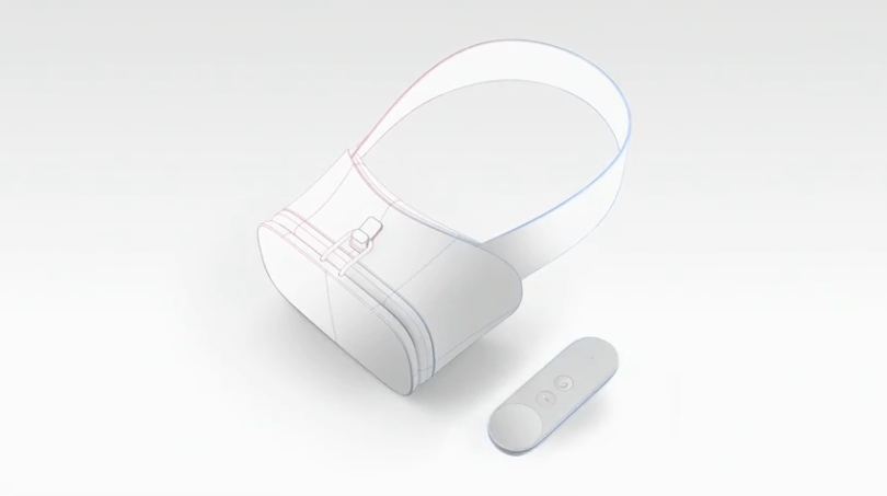 Early reference designs for Google VR headset and controller.
