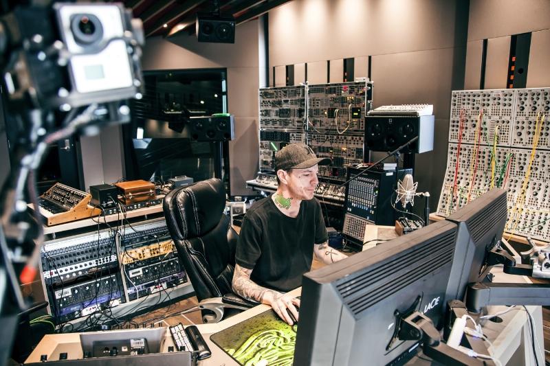 deadmau5 in his studio recording the new Absolut deadmau5 track 'Saved'