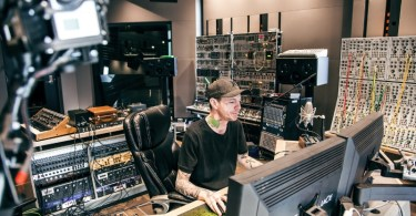 deadmau5 in his studio recording the new Absolut deadmau5 track 'Saved'