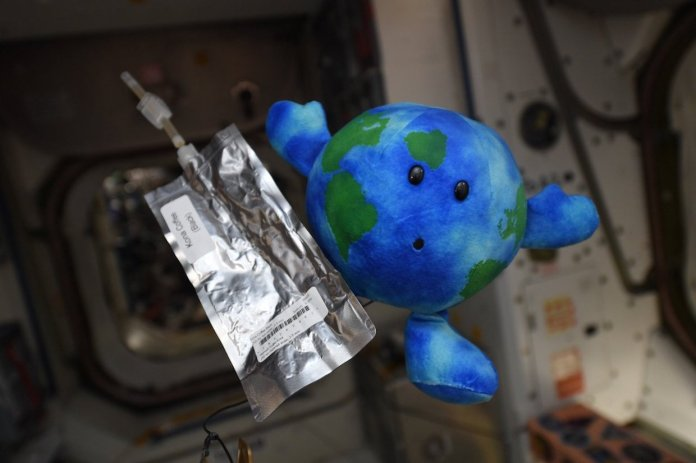 standard freeze-dried coffee pouch (not from ISSpresso) with earth – photo from NASA