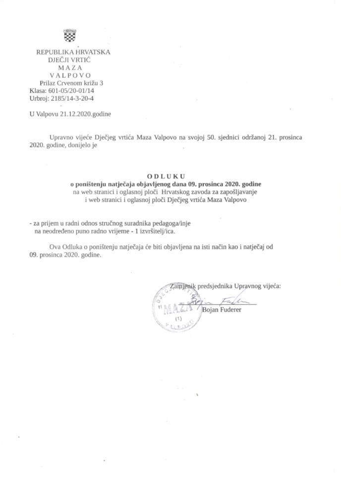 ODLUKA o poništenju natječaja objavljenog dana 09. prosinca 2020.