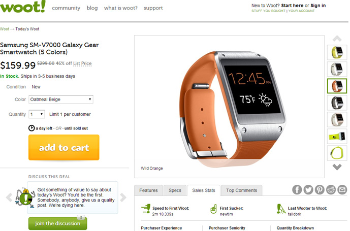 Samsung Gear 159 689 Woot Now Offers Galaxy Smartwatch For 15999