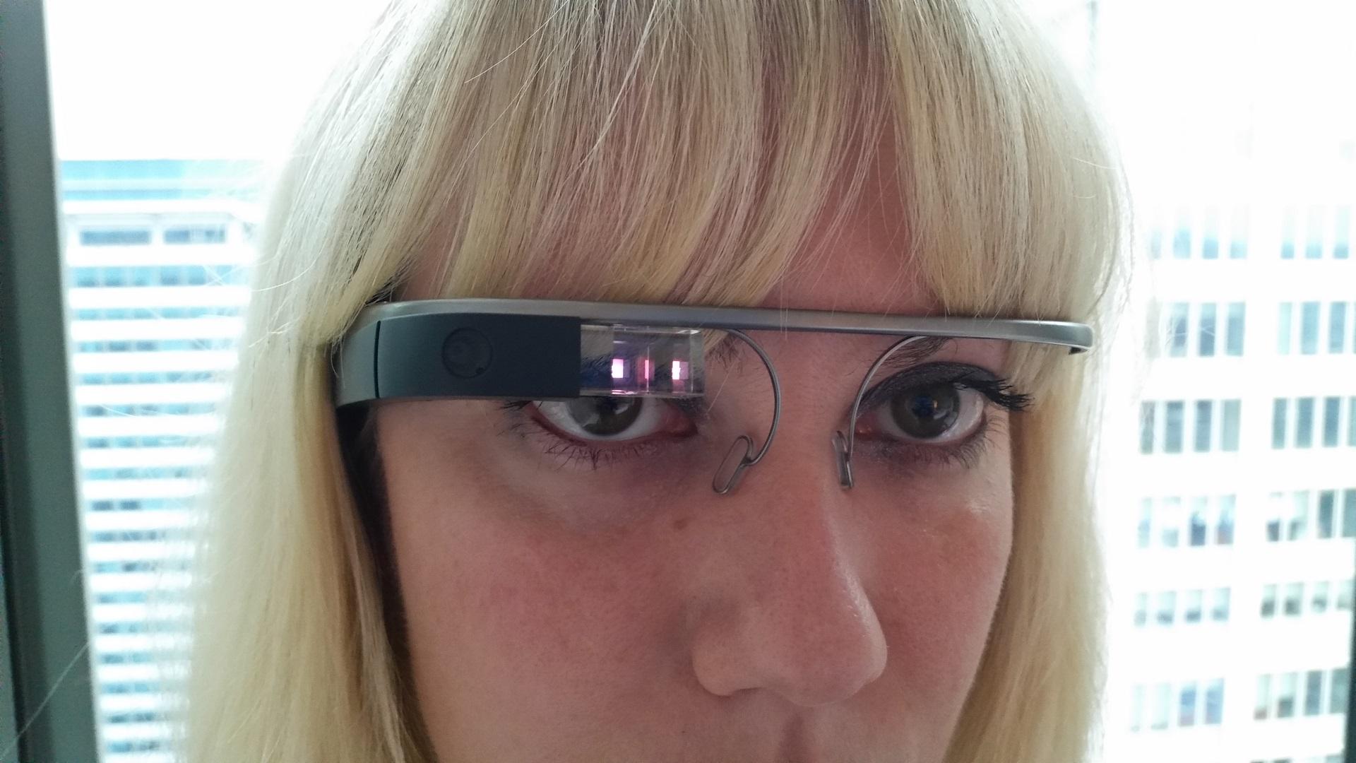 Teuta wearing Google Glass at the W Taipei Hotel.