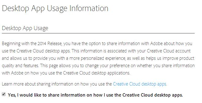 Creative Cloud Opt Out