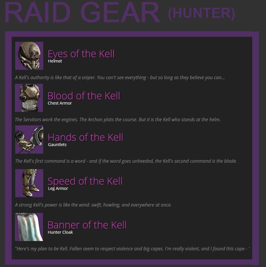 Destiny HoW Leak Raid Gear Hunter