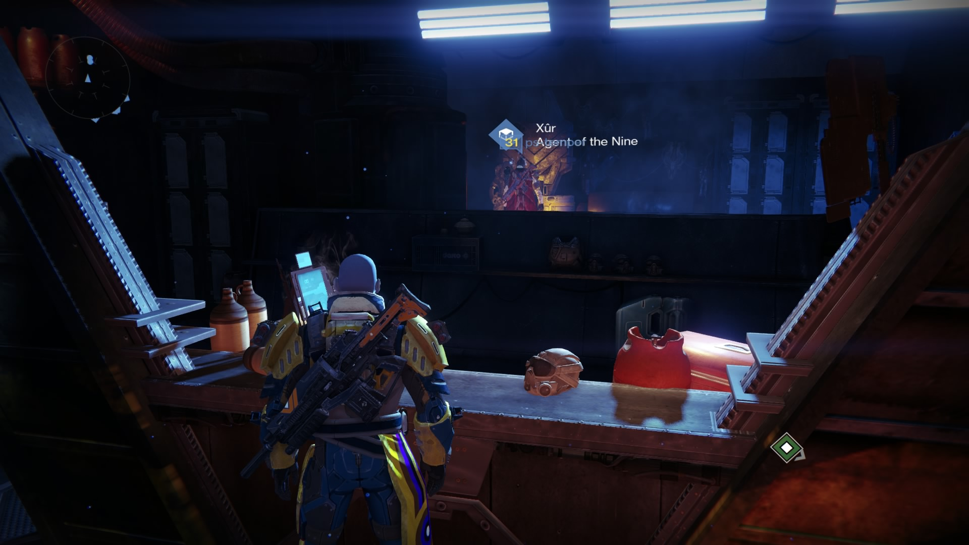 Xur, Agent of the Nine is in the Hanger, directly downstairs below the Future War Cult handler.